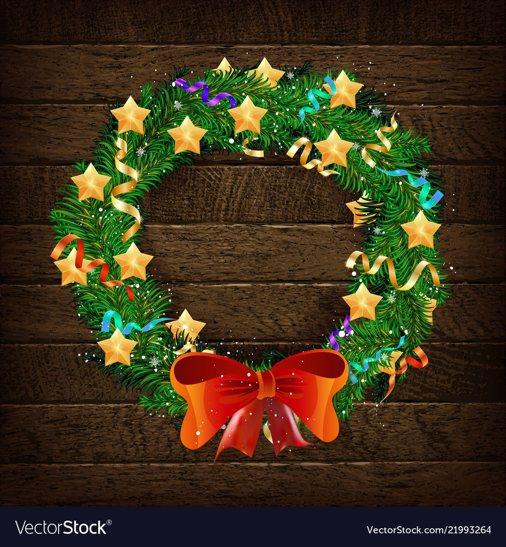 elegant christmas wreath with stars and bow vector image - Elegant Christmas Wreaths