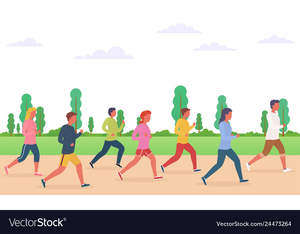 Group people running