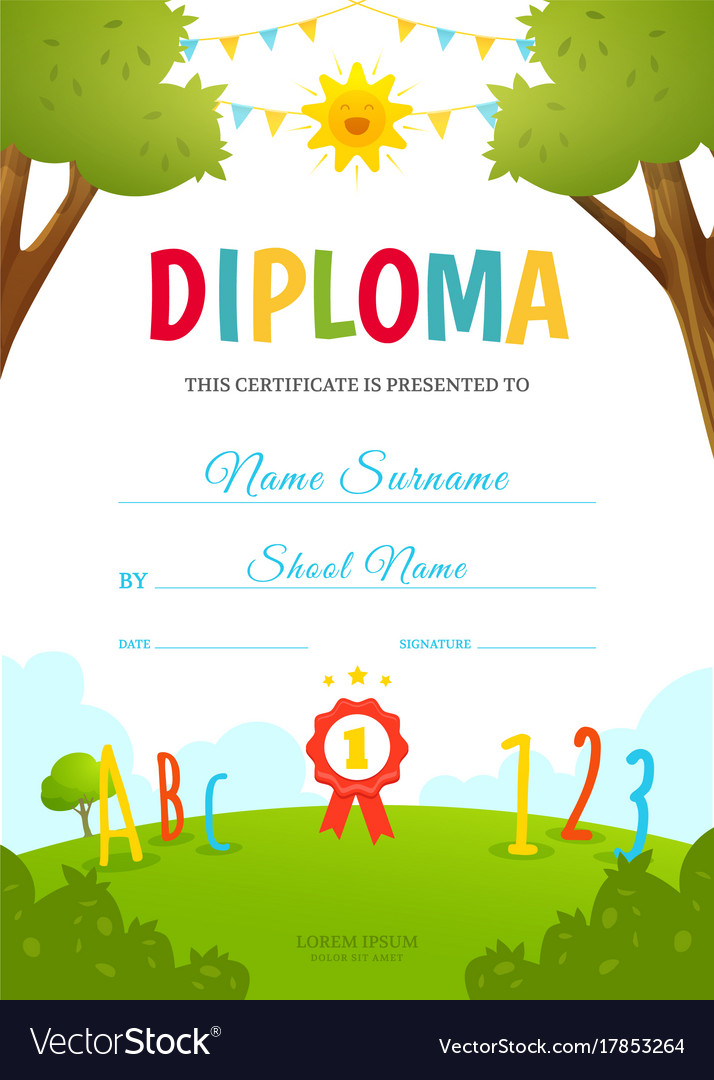 Kids Diploma Template Royalty Free Vector Image