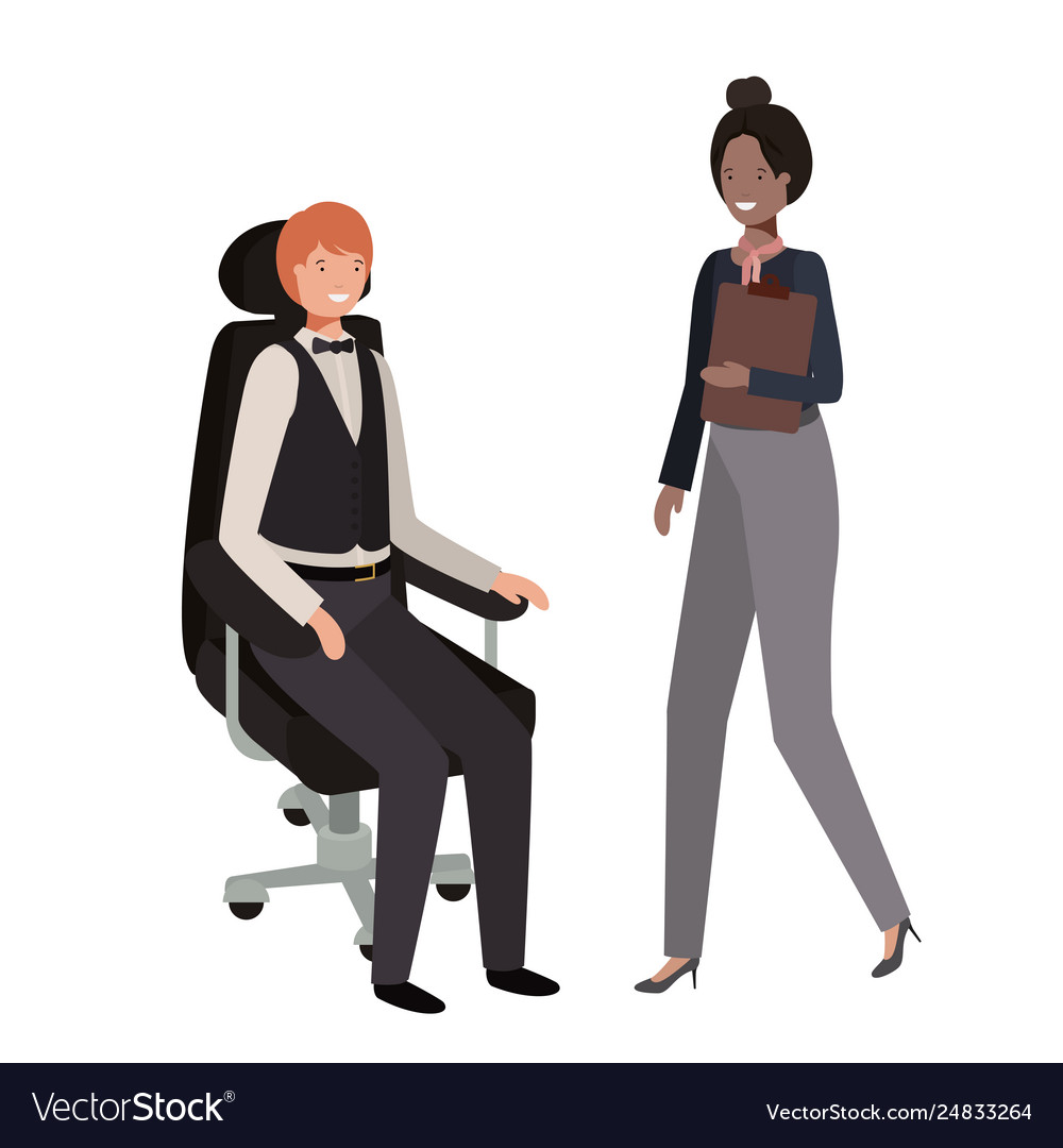 Incredible Man Sitting In Office Chair And Woman Standing Pabps2019 Chair Design Images Pabps2019Com