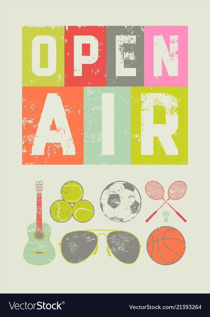 Open air sport music vintage grunge poster