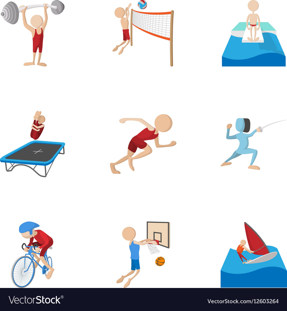 Professional sports icons set cartoon style