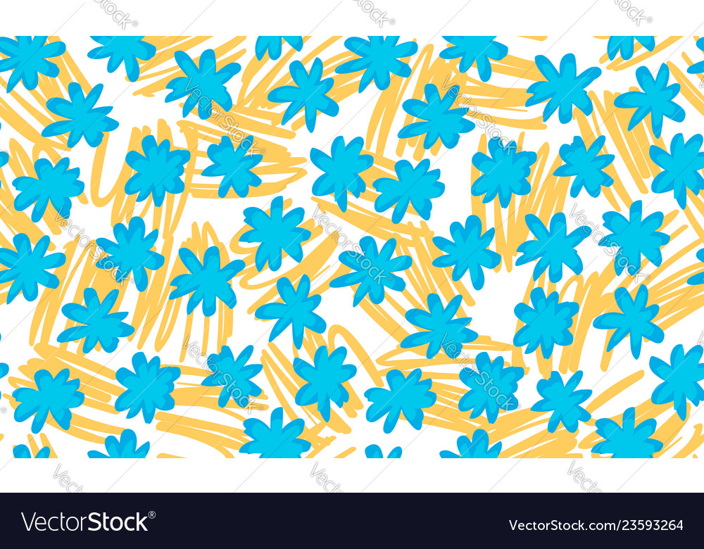 Seamless floral background drawn by hand