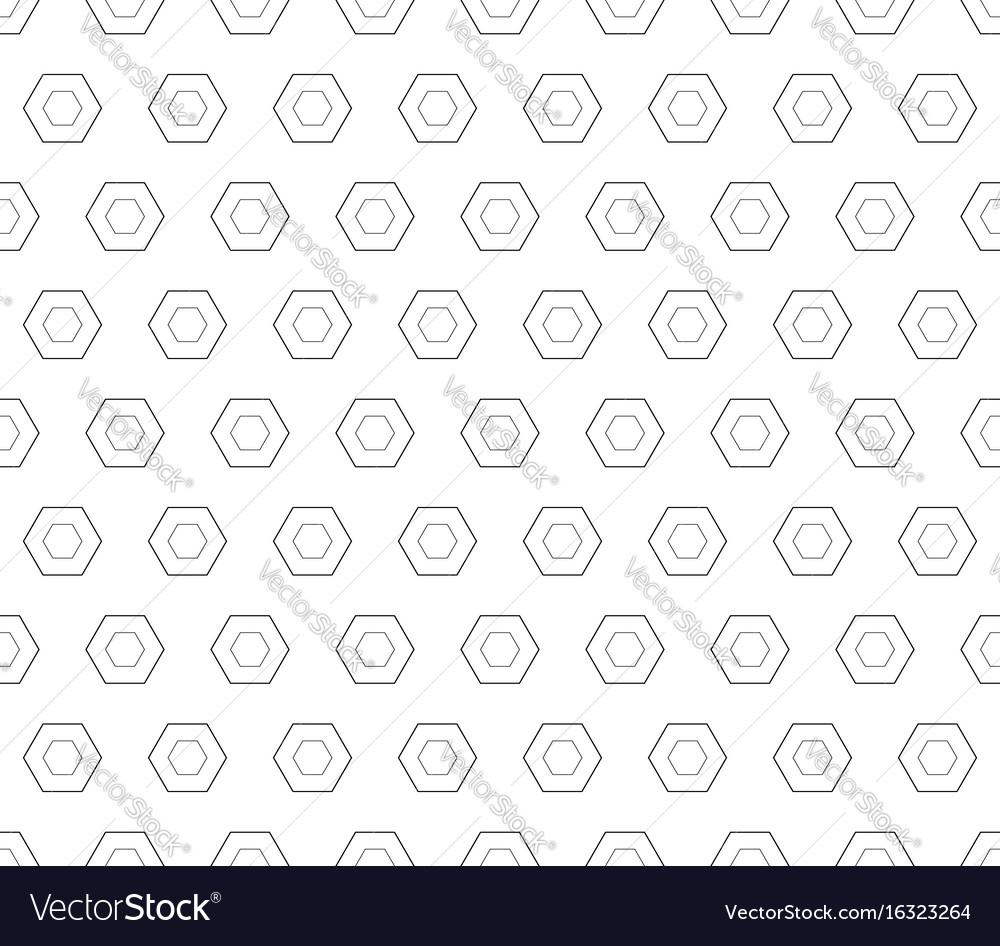 Seamless pattern black linear hexagons