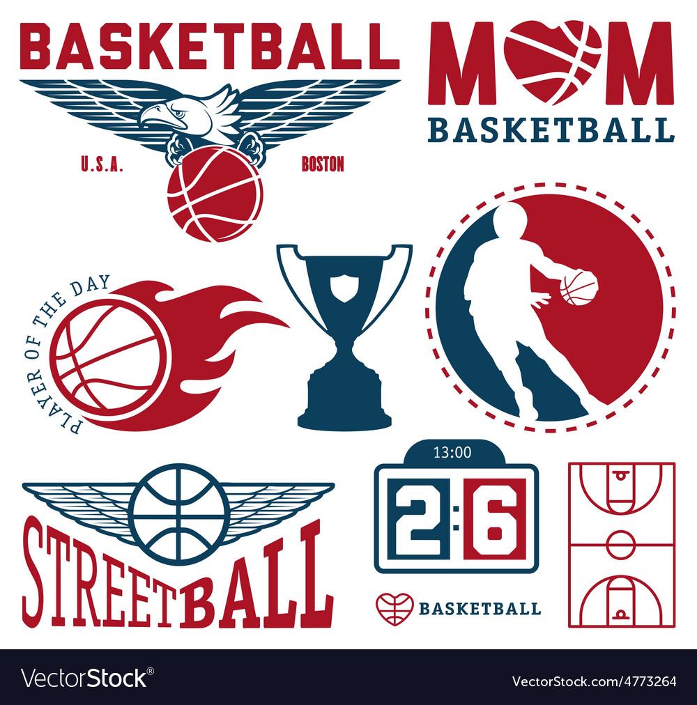 Set of vintage basketball badges and labels