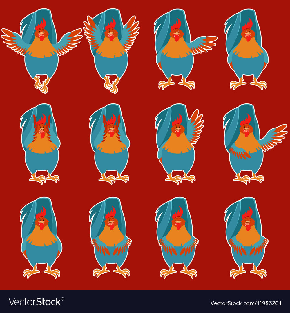 Set rooster flat icons