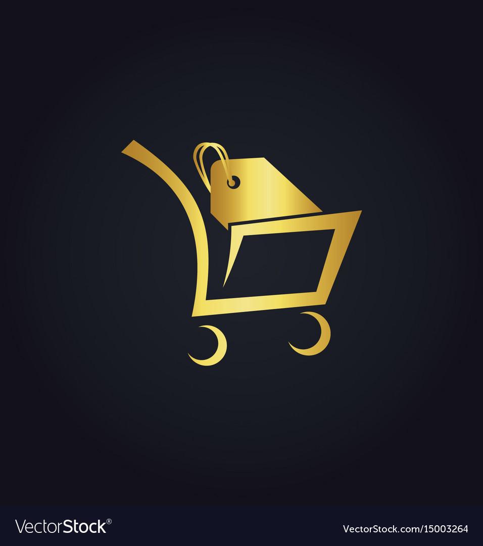 Shopping cart sale gold logo