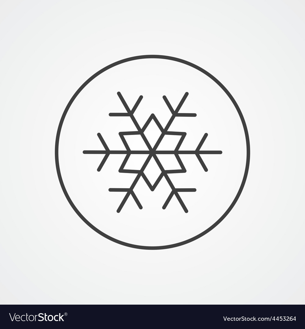 Snowflake outline symbol dark on white background