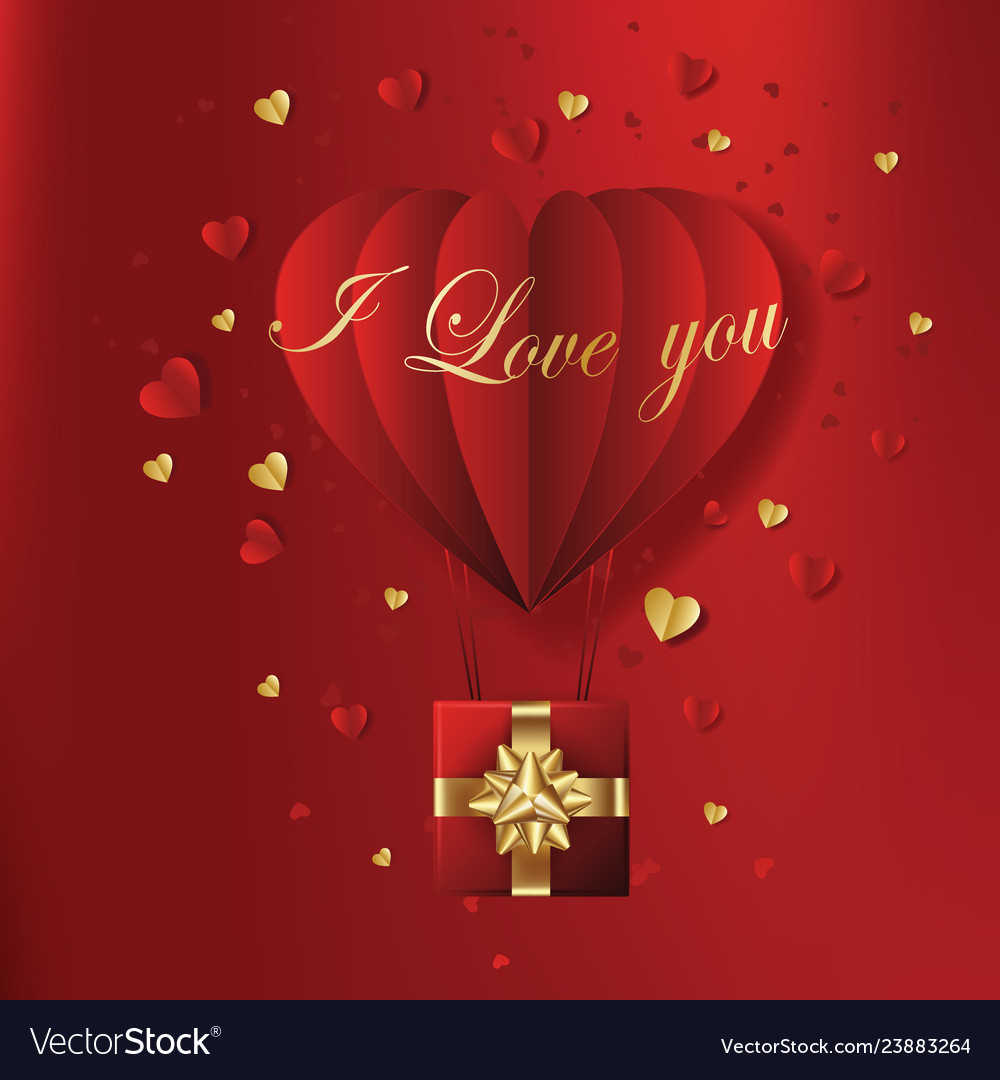 Valentines hearts with gift box postcard