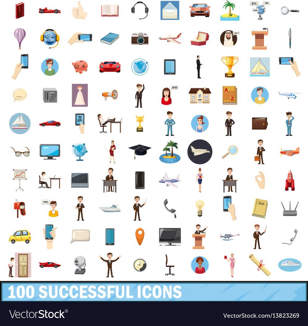 100 successful icons set cartoon style