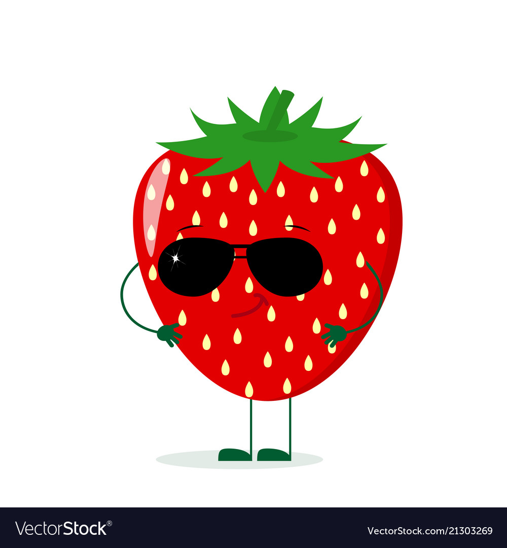A cute strawberry character in the style of a