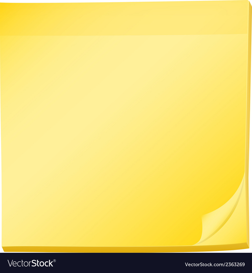 A topview of a pad of yellow post-it
