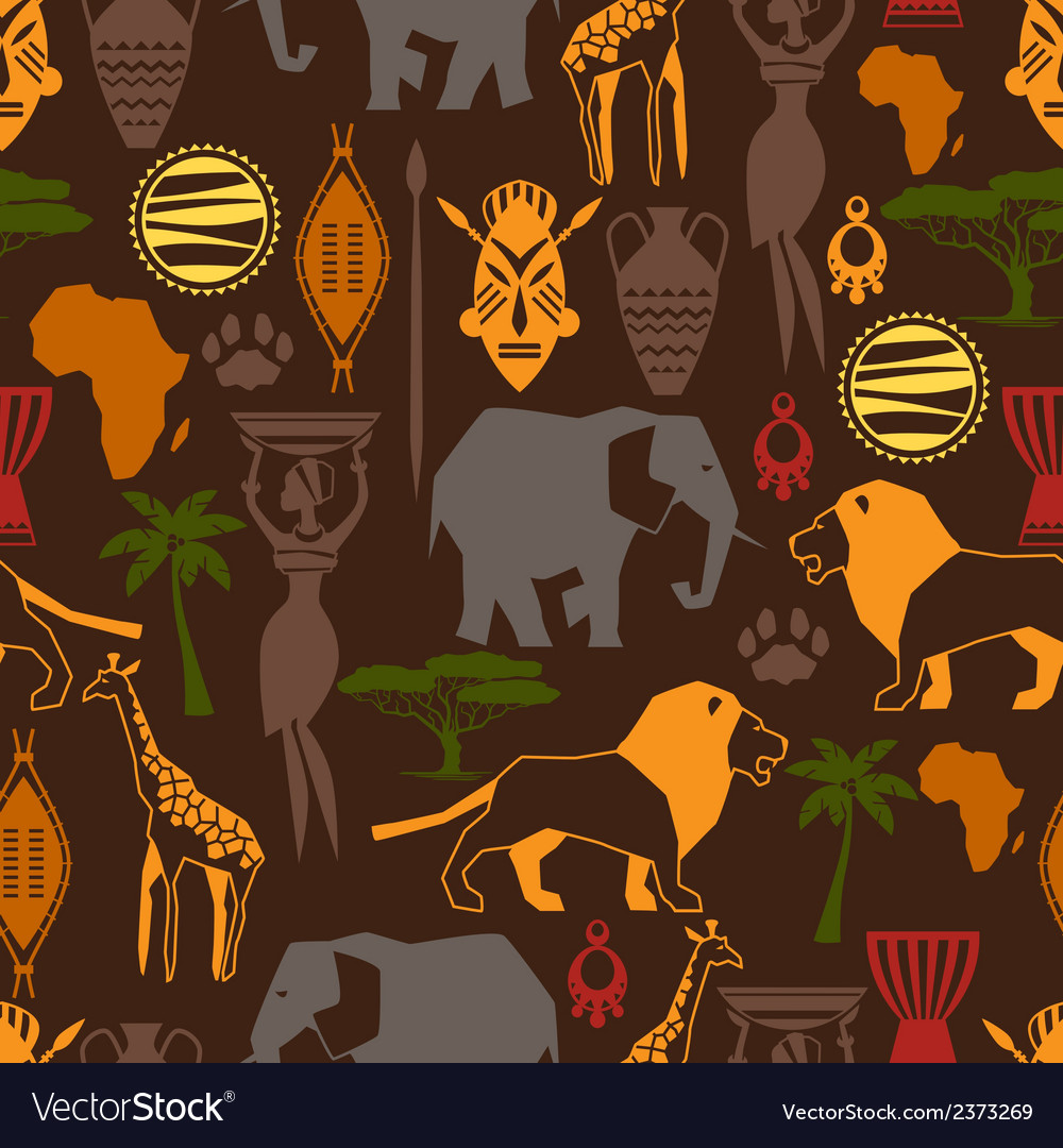African ethnic seamless pattern with stylized icon