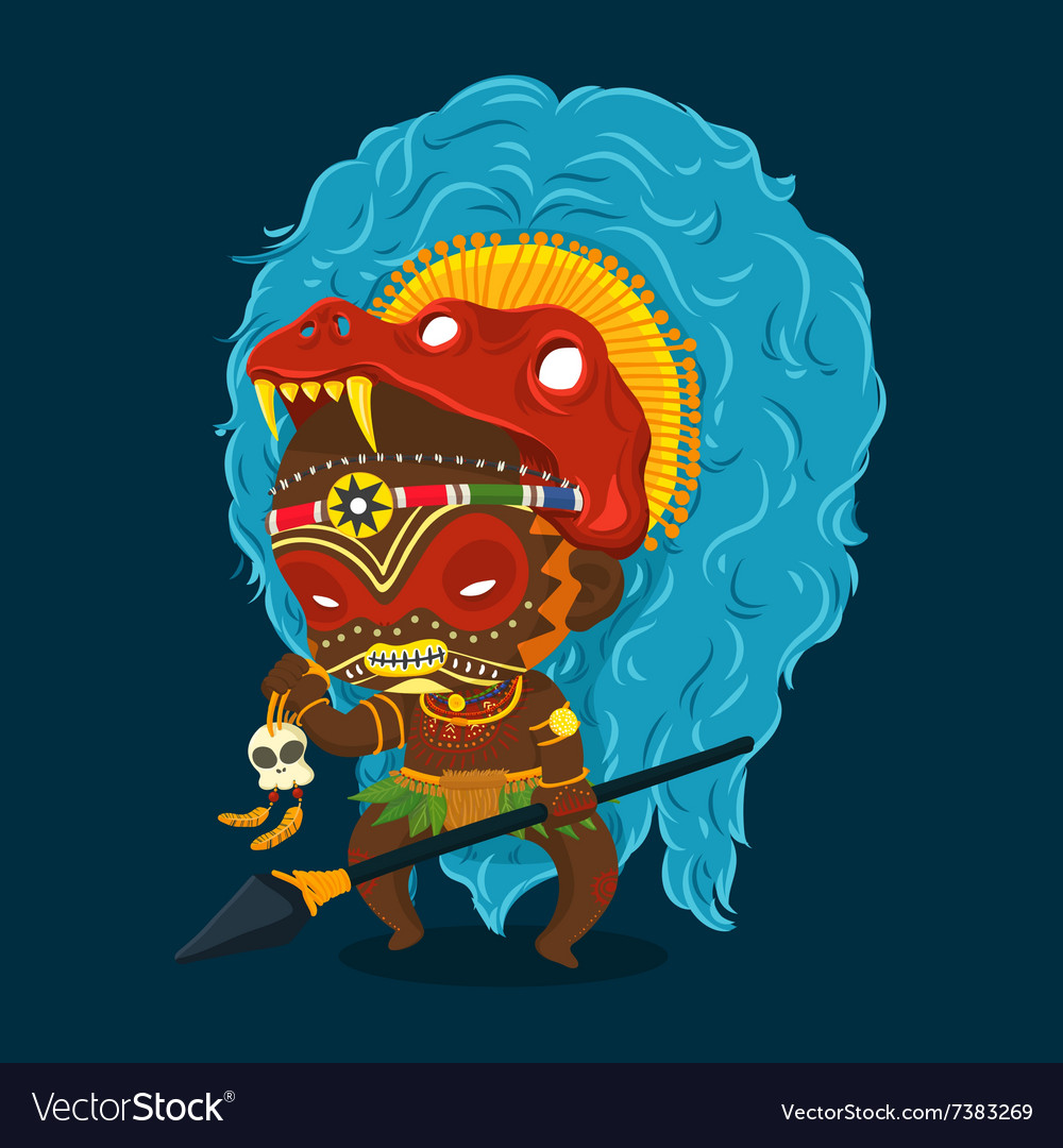 African Tribe Shaman Cartoon Character