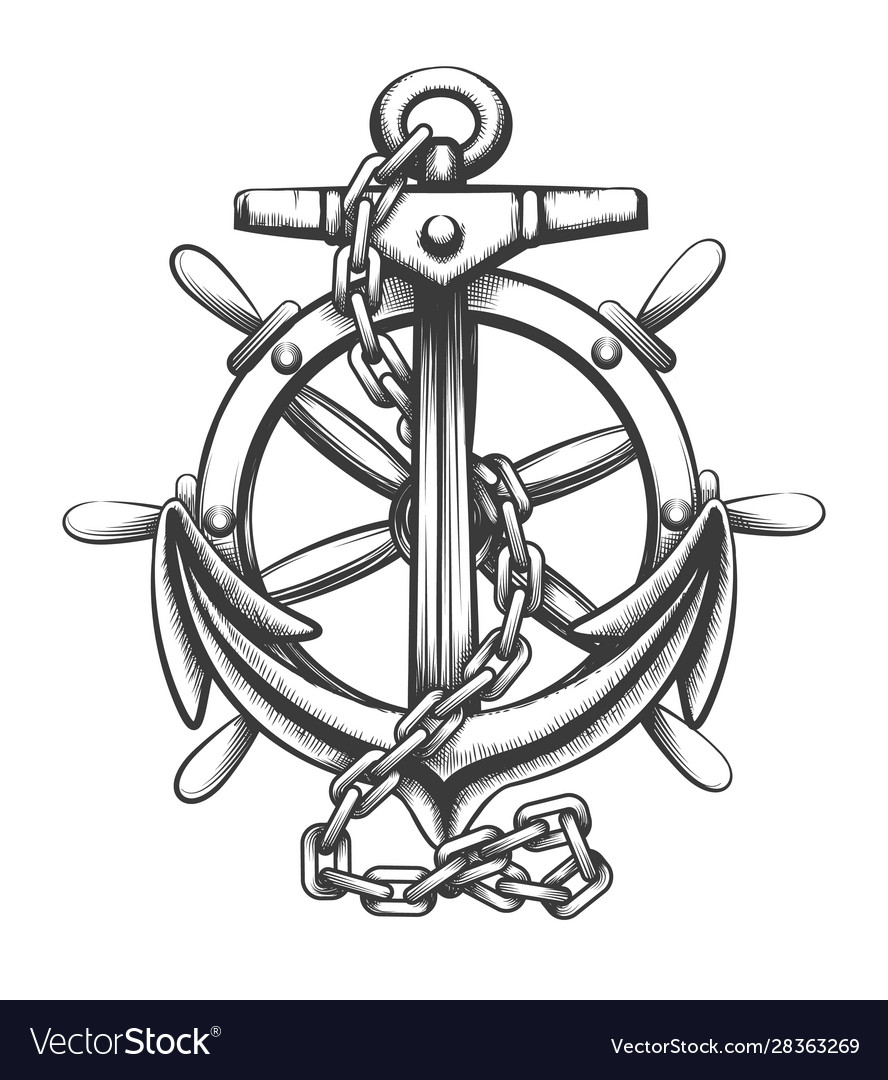 Anchor and ship wheel tattoo in engraving style