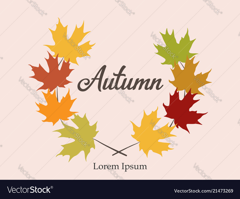 Autumn frame background wreath of autumn leaves