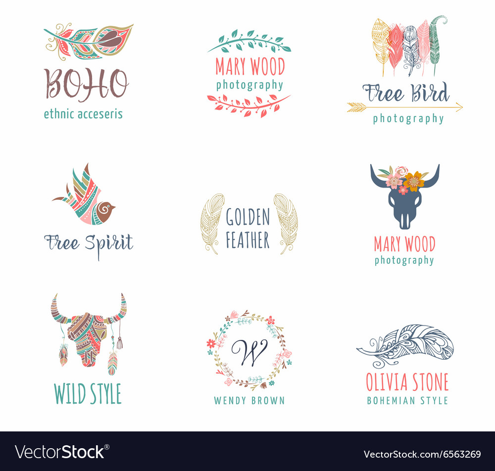 Bohemian ethnic icons with feathers wreath vector image