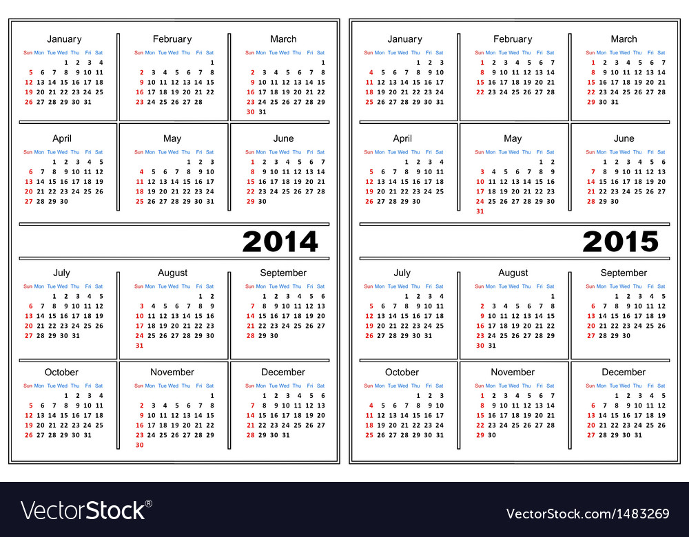 Calendar template 2014 2015 vector art - Download Blank vectors.