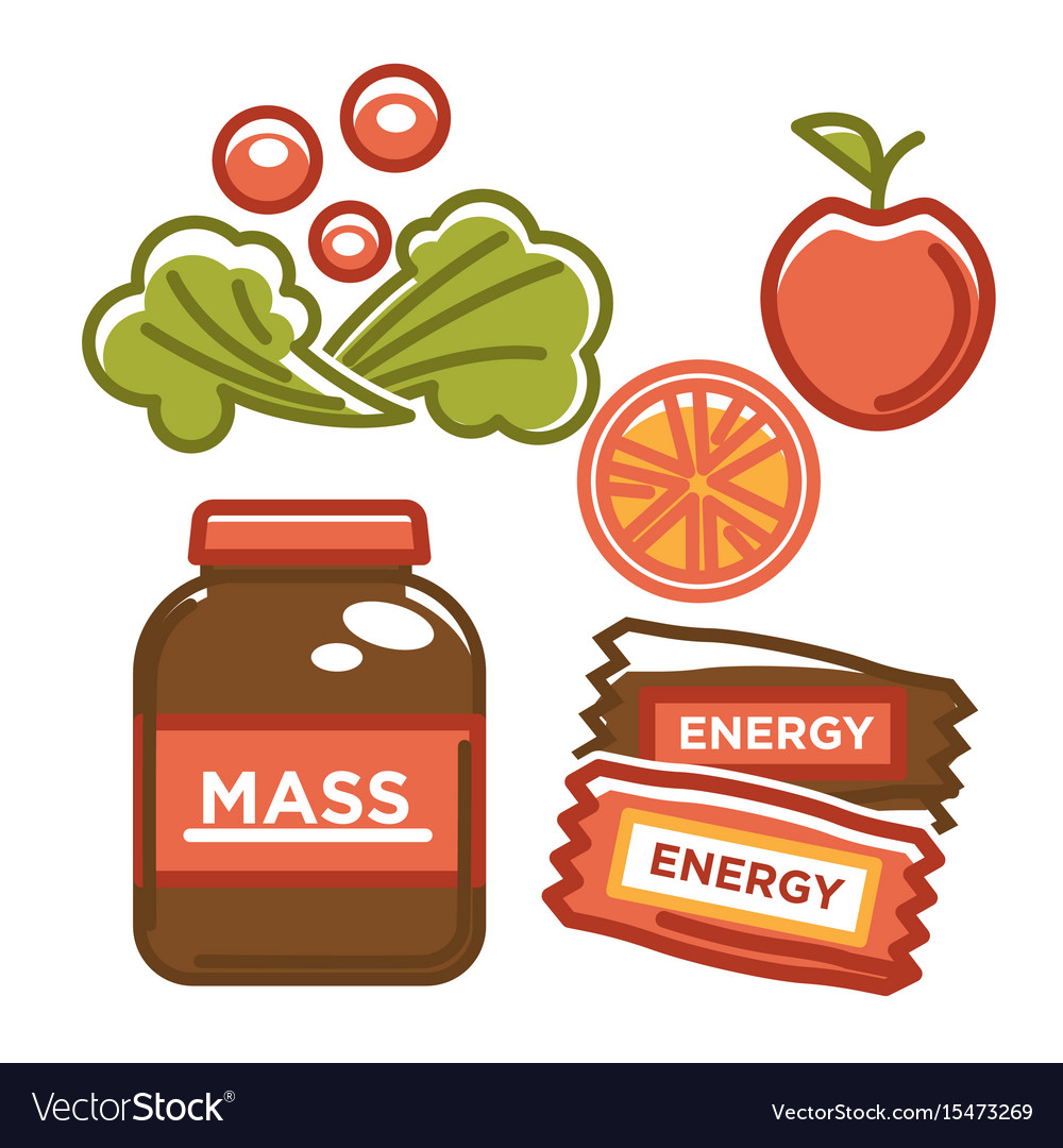 Eco fruit and vegetables with energy chocolate vector image