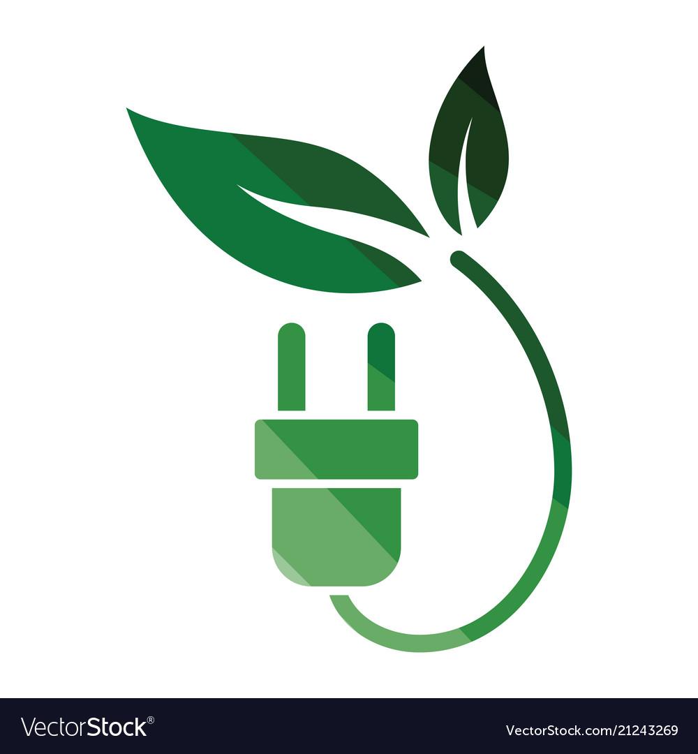 Electric plug leaves icon