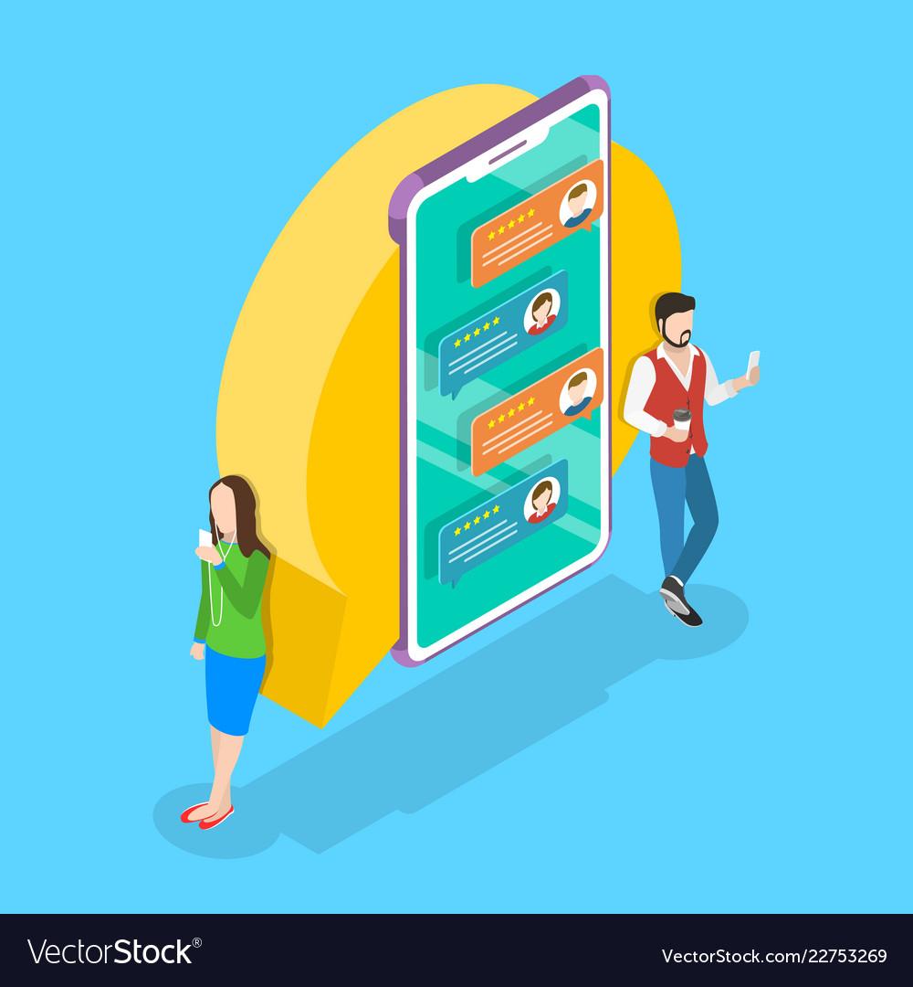 Isometric flat concept for online messenger