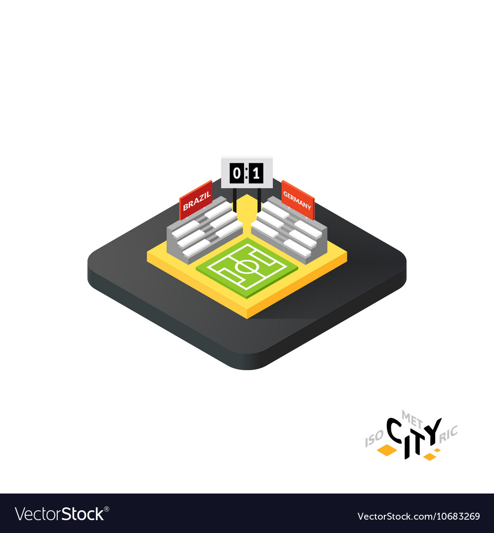 Isometric football field icon building city