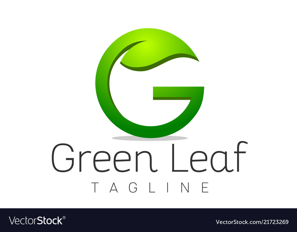 letter g leaf logo design template royalty free vector image