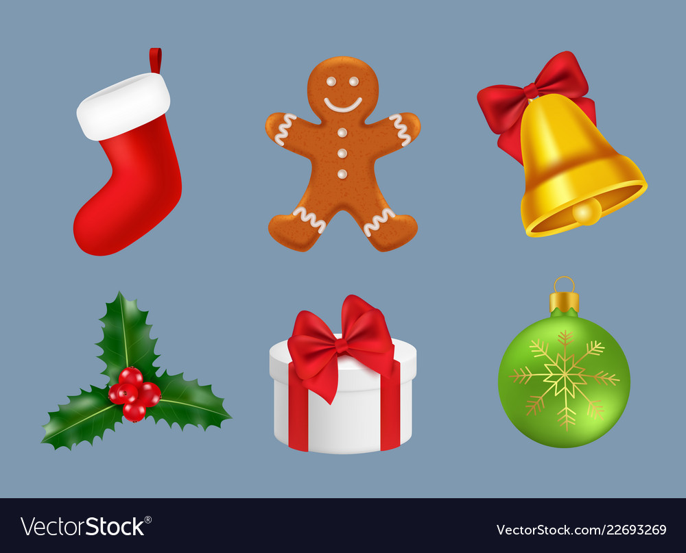 Merry christmas icons realistic winter season