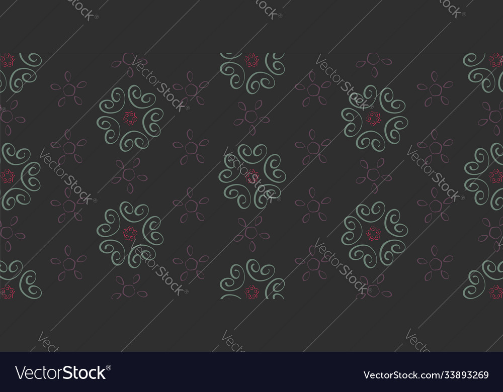 Seamless pattern with floral elements on a dark