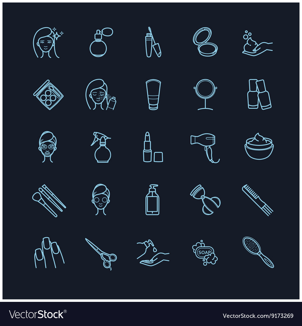 Set of beauty make up and cosmetics icons