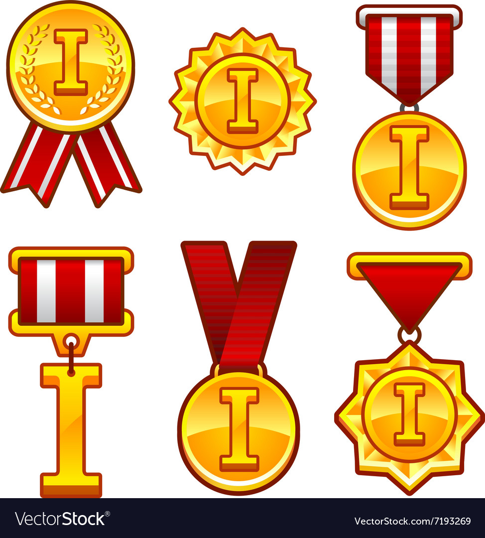 Trophy awards flat medal first place badge