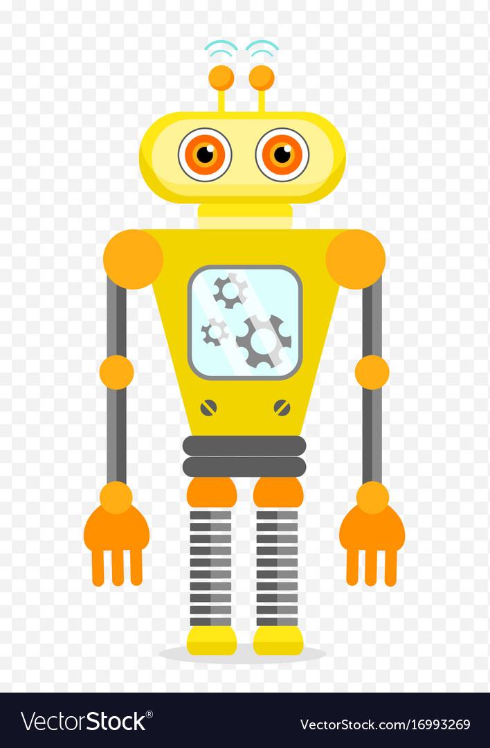 Yellow cheerful cartoon robot character
