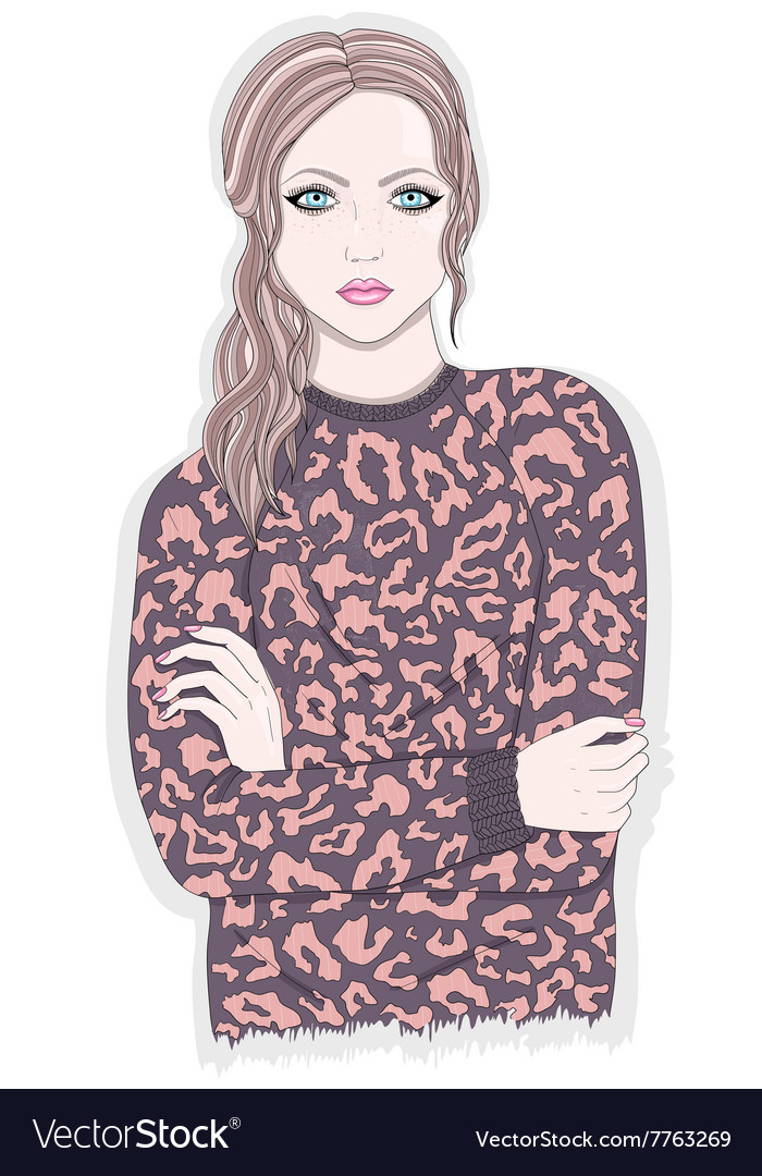 Young girl with animal print jumper