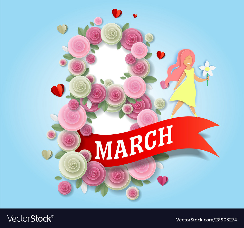 8 march women day greeting card template