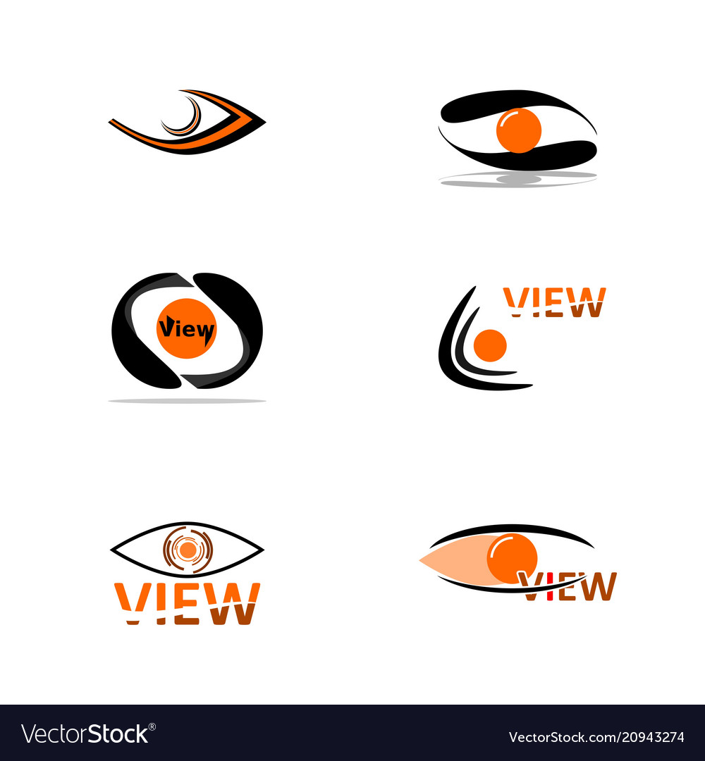 Abstract eye in black and orange colors a set of