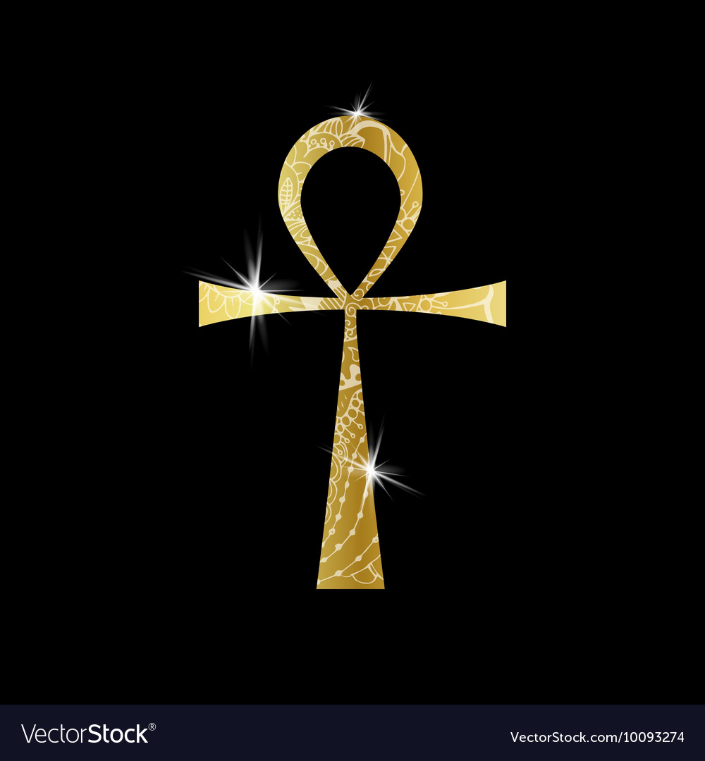 Ankh Symbol Gold Egyptian Cross With Royalty Free Vector
