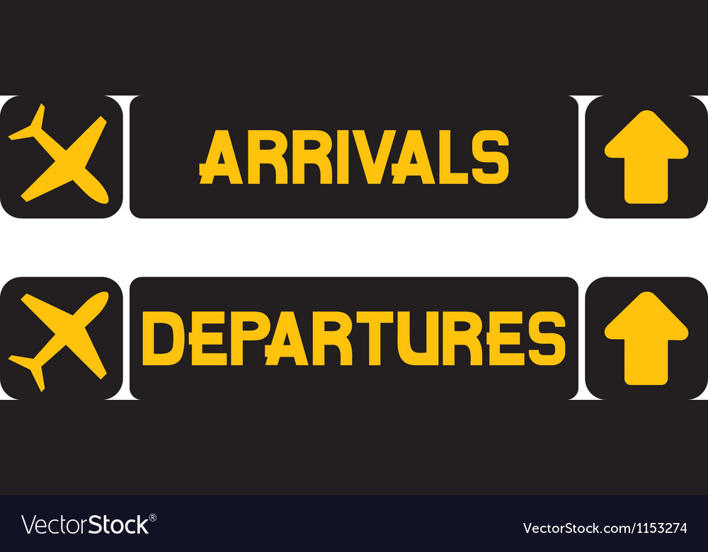 Arrival And Departures Airport Signs Royalty Free Vector