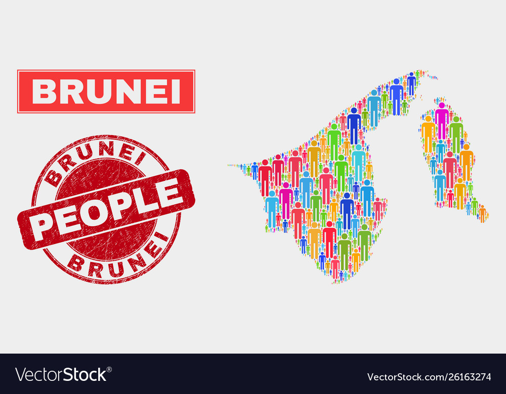 Brunei map population people and grunge stamp seal vector image