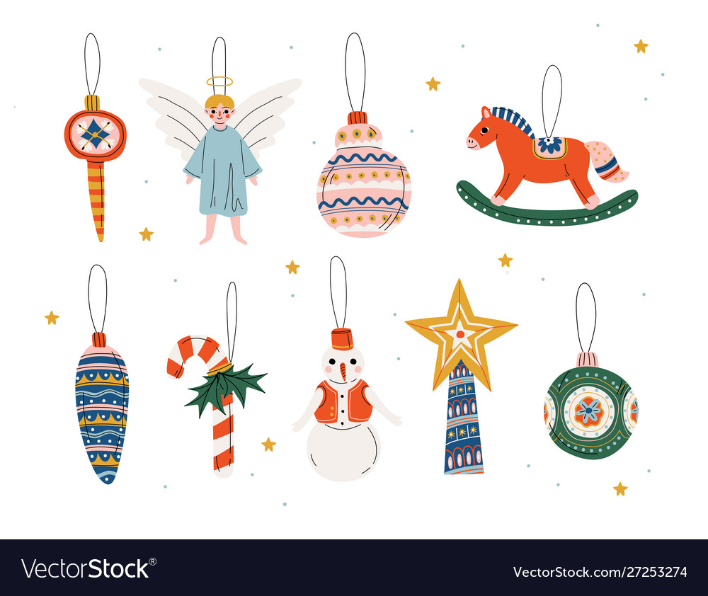 Christmas three decorative elements hanging on