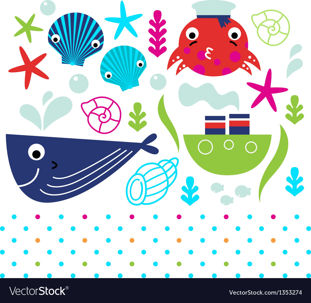 Cute sea animals set isolated on white vector image
