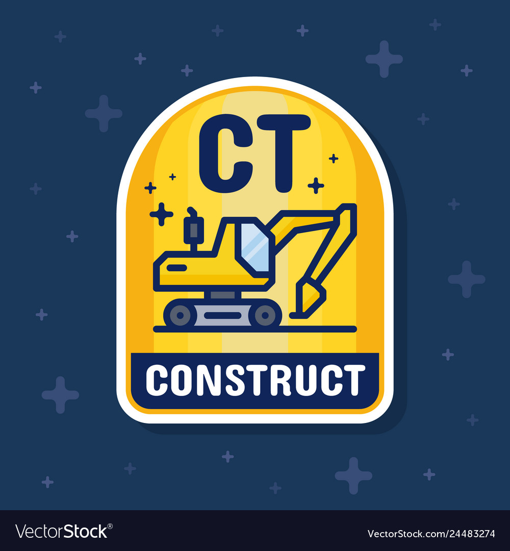 Excavator and construction service badge banner
