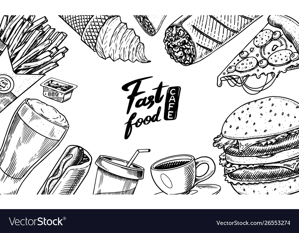 Fast food background banner template in vintage