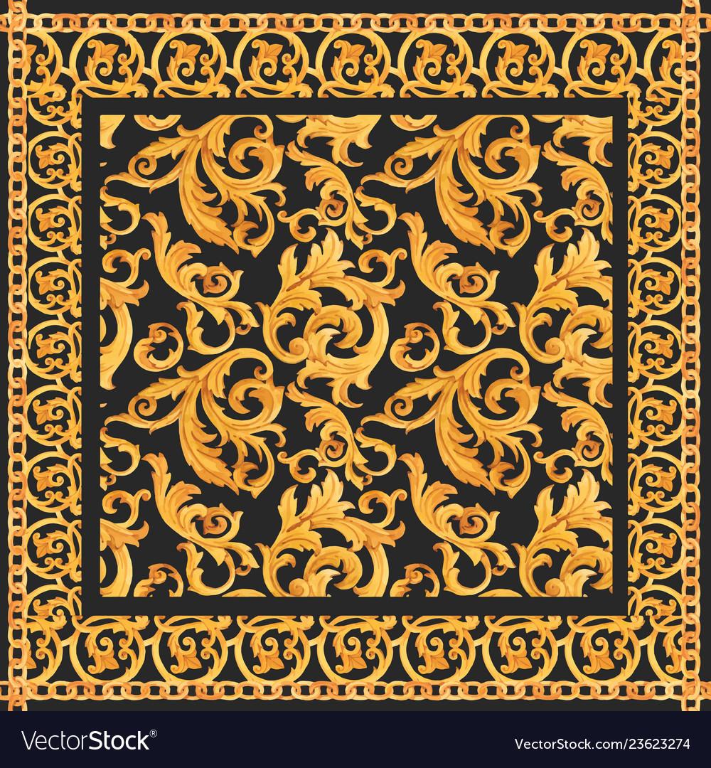 Golden baroque rich luxury pattern