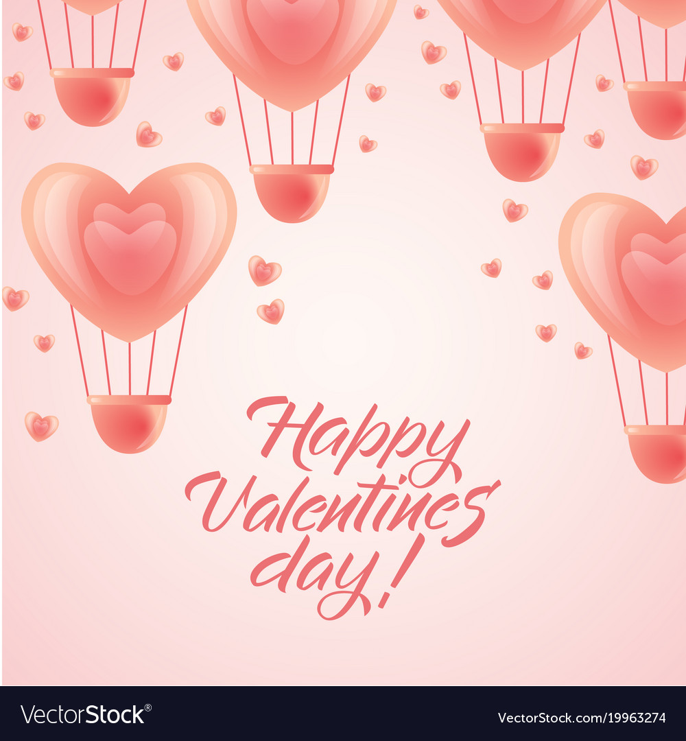 Happy Valentine Day Greeting Hearts Balloons Vector Image
