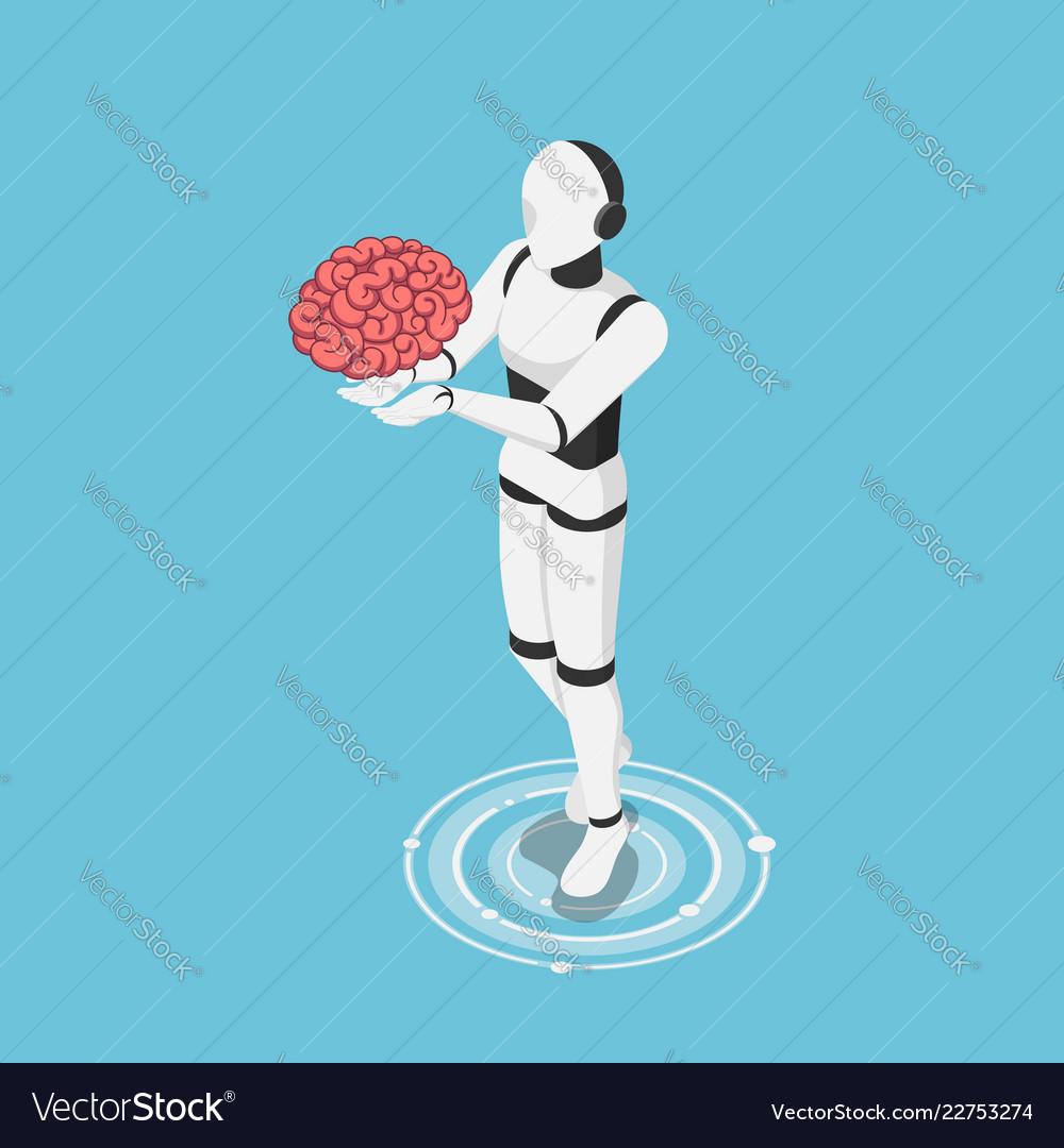 Isometric ai robot holding human brain