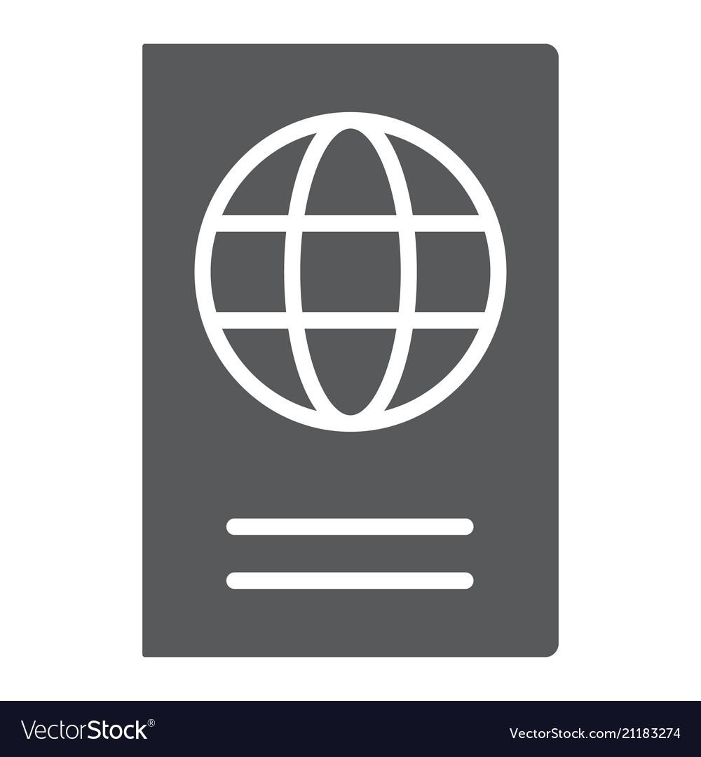 Passport glyph icon travel and tourism