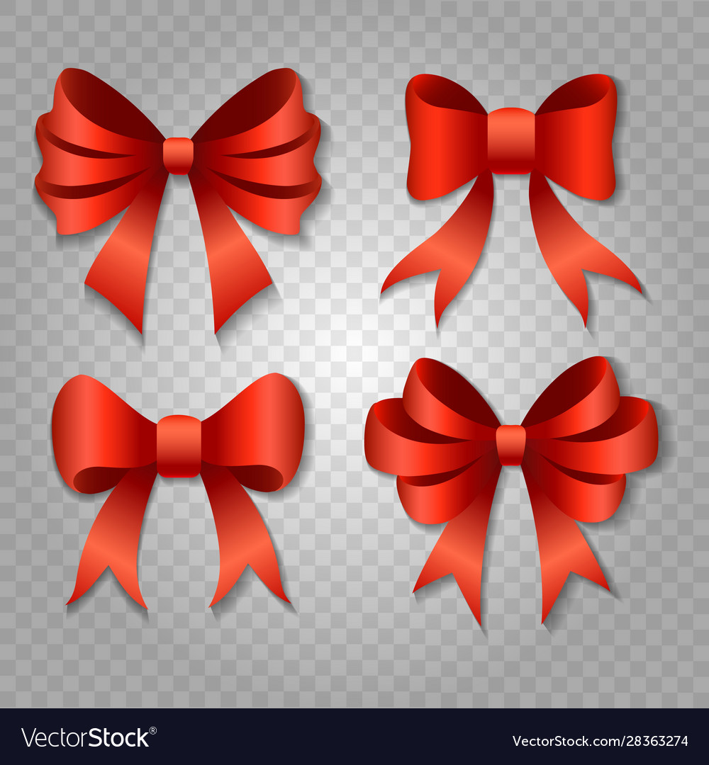 Red bow set isolated on transparent background
