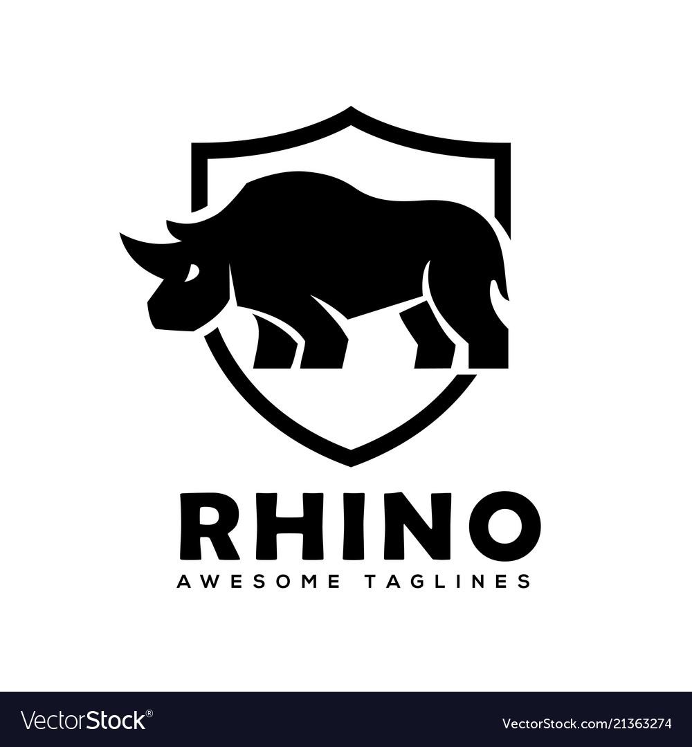 Rhino with shield logo rhinoceros shield l