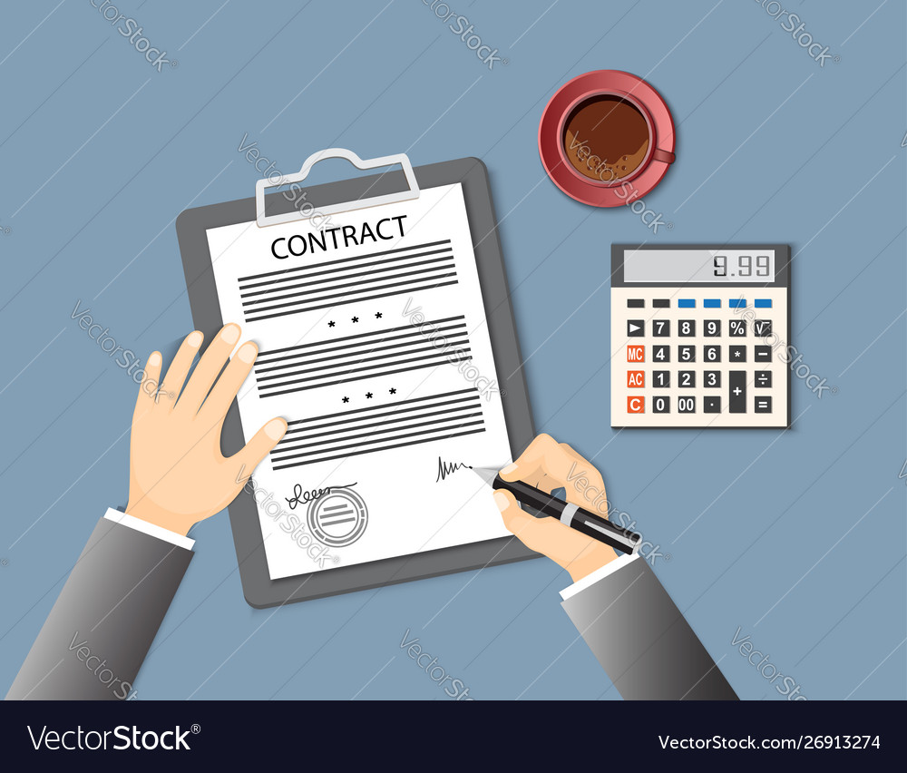 Signing Contract With Calculator And Cup Coffee Vector Image