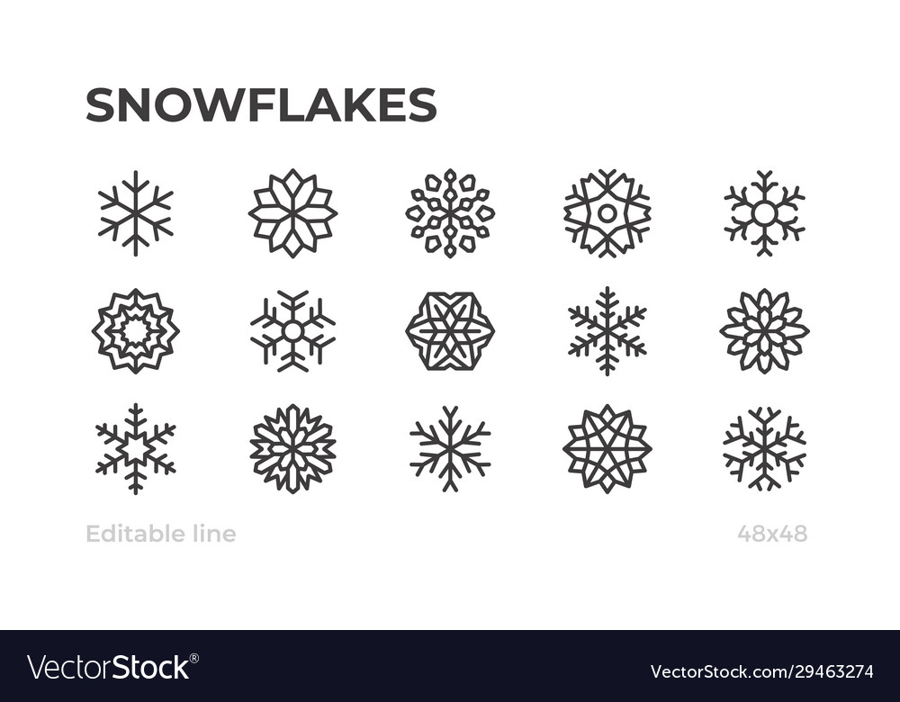 Snowflakes icons for winter christmas and